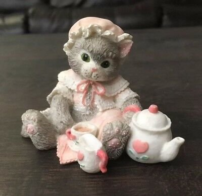 Vintage 1993 Enesco Calico Kittens Cat Figurine Tea and You Hit the Spot