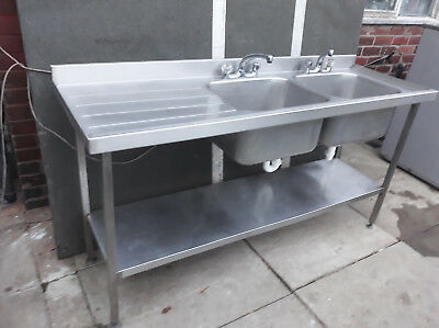 Commercial Stainless-Steel 2 Bowl Sink Single Drainer with Shelf,