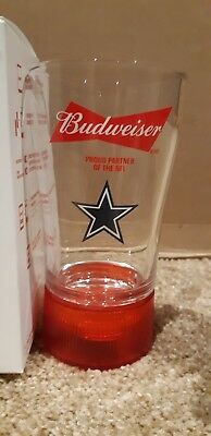 New Nfl  Touchdown Budweiser Red Light Glass -Dallas Cowboys Only $15.00