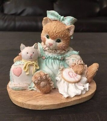 Vintage Enesco Calico Kittens Friendship is Sewn Stitch by Stitch Cat Figurine