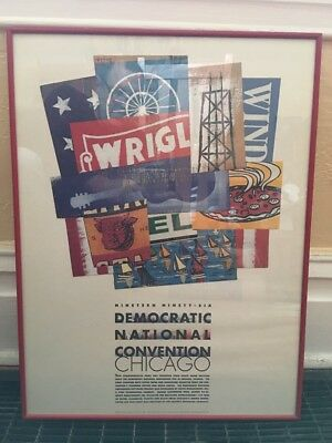 Democratic National Convention DNC Chicago 1996 Recycled Poster Print Framed