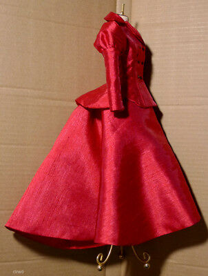 "OOAK Victorian Red Dress with Hat for Tonner Tyler Wentworth 16"" doll"