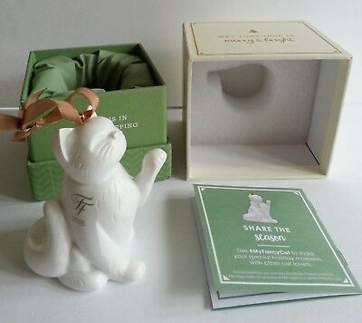 New 2018 FANCY FEAST White Cat Polyresin Holiday Christmas Ornament - Sealed Box