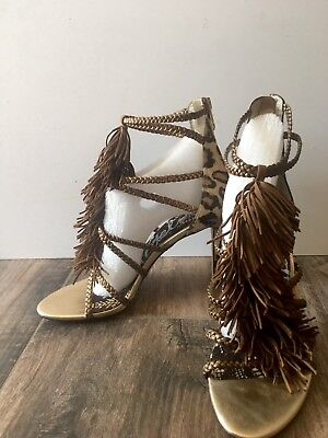1c36c4717a84 Sam Edelman Womens High Heels Size 9M Leather Fringe Calf Fur Strappy  Sandals