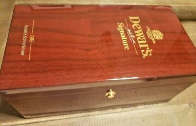 Dewar's Signature Wooden Box, Zippo, Keychain & Stainless Steel Flask Bundle