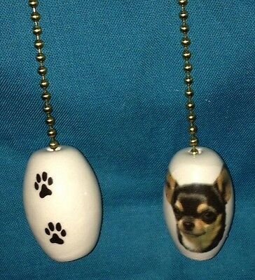One Black And Tan Chihuahua Dog Fan Pull With Paw Prints On The Back 1""