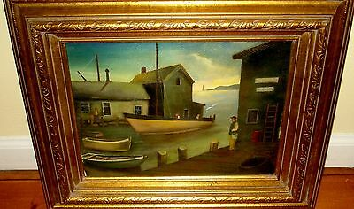 Antique Andree Ruellan Harbor Scence Oil Painting on Art Paper c1930's