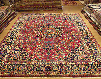 10 x 12.9 SIGNED Handmade Antique Persian Wool Rug. Soft Silky Fine Wool