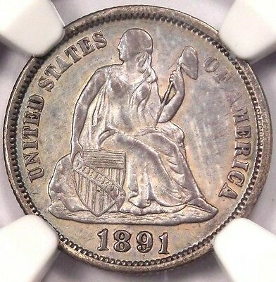 1891 Seated Liberty Dime 10C - NGC Uncirculated (UNC MS) - Rare Certified Coin