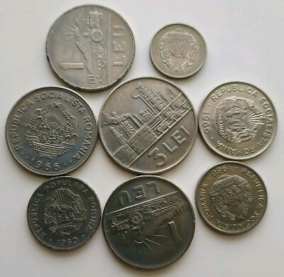Romania Lot Of 8 Coins