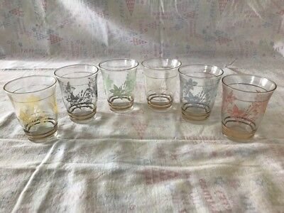 Retro Coloured Frosted Floral Flower & Leaf Pattern Drinking Glasses; set of 6