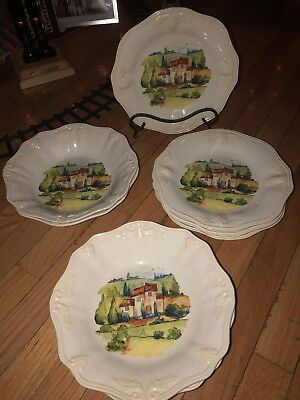 NEW Lenox Butlers Pantry Gourmet Tuscan  Village SET Pasta Bowls Accent Plates