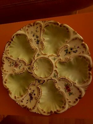 Antique - Hand Painted - Green Floral - Porcelain - Oyster Plate