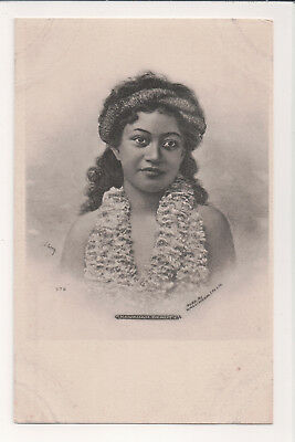 "VINTAGE ""HAWAIIAN BEAUTY"" LADY WITH LEIS HEAD GARLAND EARLY 1900s BW POSTCARD"