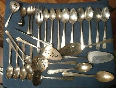 HUGE LOT of Antique Silver plate Flatware Mixed Lot 11+ Pounds