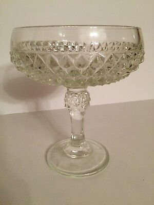 """Indiana Glass Diamond Point Compote Candy Dish Pedestal Footed Bowl Vintage 7.5"""""""