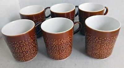 Set of 6 Retro/Vintage Brown Celtic Connemara Kilrush Cups or Small Mugs (8417)
