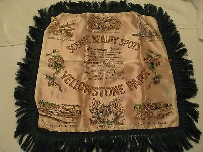 New with Tags! Yellowstone Park satin pillow case cover Souvenir Travel Wyoming