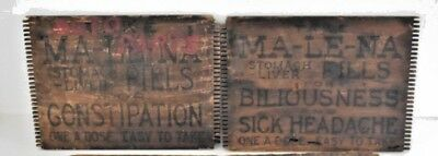 Original Malena Stomach Liver Pills for Constipation Wood Crates  Early 1900's