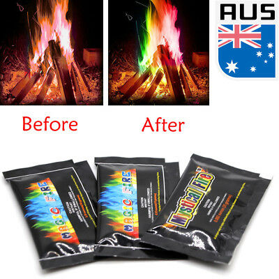 10/15/25g Mystical Magic Trick Fire Coloured Flames Bonfire Sachets Fireplace AU