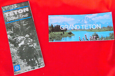 2 Vtg 1979 Maps Grand Teton & Teton National Forest Service Recreation Wyoming