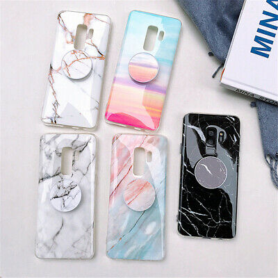 Samsung S10+ S10e Note 9/8 Marble Pattern Stand Holder Slim Soft TPU Case Cover