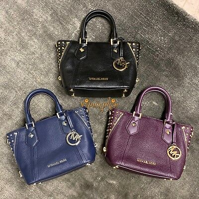 cdcfd39db17cbe Michael Kors Aria Studded Xs Satchel Extra Small Leather Bag Navy Damson  Black