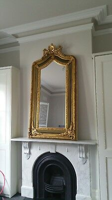 French Provincial Mirror Gold Floor / Mantle Bevelled Mirror Simply Stunning