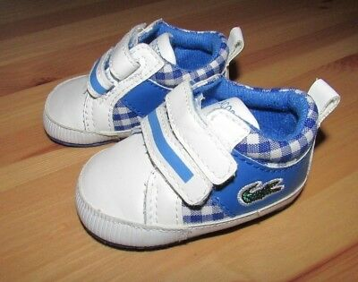 Lacoste Baby Crib Shoes - Blue/White - Infant Size UK 1 (Boy or Girl)