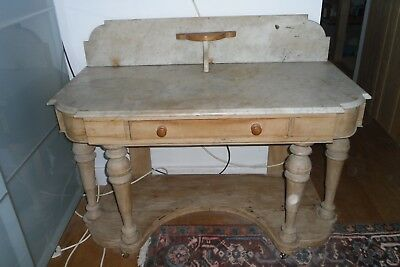 Victorian Stripped Pine Marble Top Duchess Washstand Dressing Table Wax or Paint