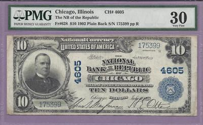 1902 PB $10 Fr# 628  Chicago, Illinois  CH# 4605  PMG  **SCROLL DOWN FOR SCANS**