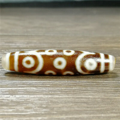 band certificate tibet dzi bead old agate 15Eye amulet gzi antique Pendant A1232