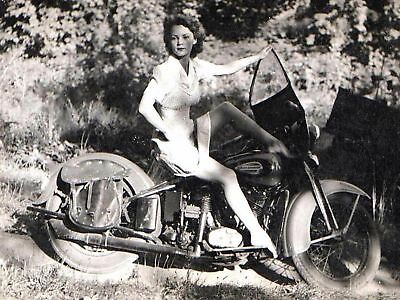 Harley Davidson Posing On Motorcycle 8x10 Picture Celebrity Print