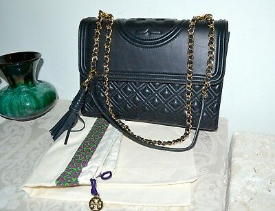 ad21f873890e NWT  498 TORY BURCH Fleming Convertible Shoulder Bag Black Quilted Leather