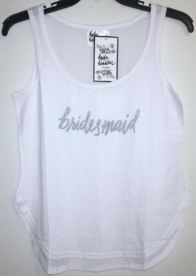 NEW Lot/3 Bride & Beauties by BedHead Wedding White Tank Top Bridesmaid, L/Large