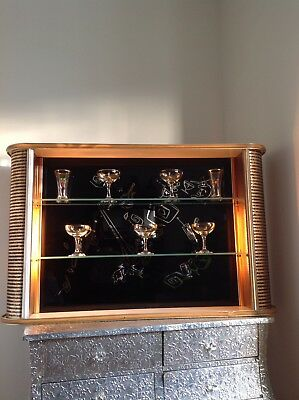 50s 60s Mid Century Retro Vintage Cocktail Drinks Cabinet Bar Wall Atomic