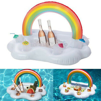 Ice Bucket Rainbow Cloud Cup Holder Inflatable Pool Floating Beer Drink Toy yy