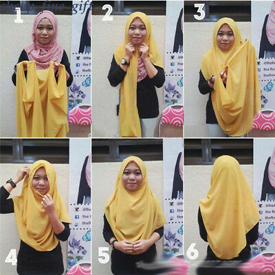 Islamic SLIP ON Ready to Wear Cotton Jersey Pullover Scarf Hijab Stretchy Shawl