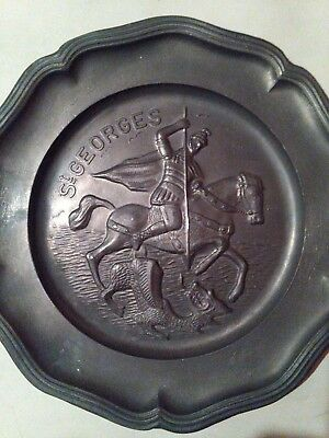 Pewter St. George slaying the Dragon, Devil scene plate.