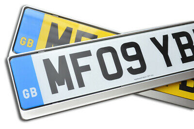 2 x PREMIUM CHROME STAINLESS STEEL NUMBER PLATE SURROUND HOLDER FOR MERCEDES