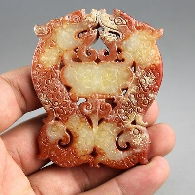 3'' Chinese old yellow red jade hand-carved dragons Phoenix collect pendant 0787