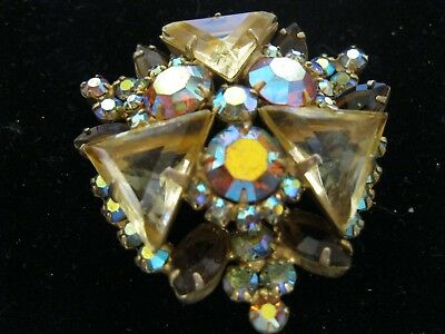 Unique Pendant Brooch Cluster Jewelry Amber Sparkly Crystal Rhinestone Glass?