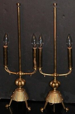 Pair Antique Eng Brass c1884 Arts Crafts Dbl Candelabra Lamp W&AC Russell Tripod