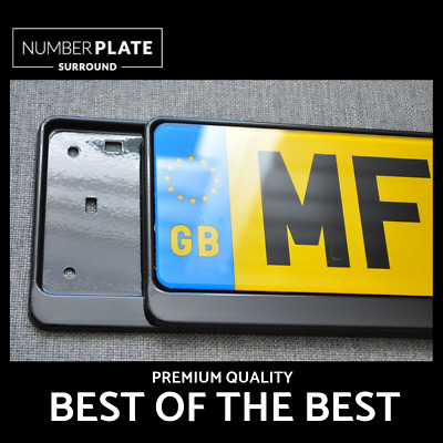 2 x PREMIUM BLACK STAINLESS STEEL NUMBER PLATE SURROUND HOLDER FOR SMART