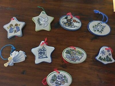 Lot of vintage Louisville Stoneware ornaments 9 beautiful pieces