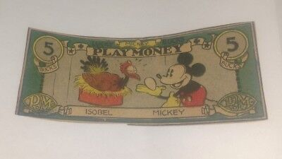 Vintage Walt Disney Productions Mickey Mouse Play Money Bills