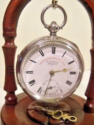 Antique  Solid Silver  J G Graves Express English Lever Pocket Watch  1904