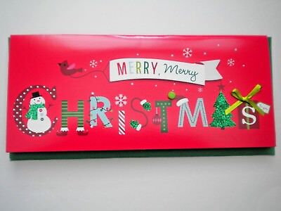 """Glittery 3D """"merry, Merry Christmas"""" Greeting Card With Green Envelope"""
