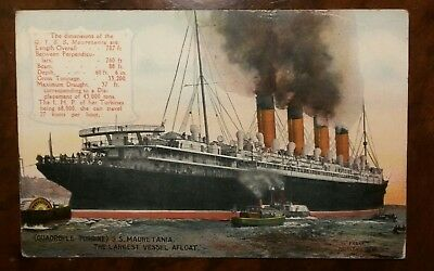 Cunard Line Mauretania leaves the Tyne original postcard dated 1911
