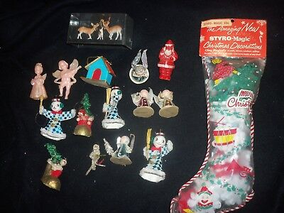 Vtg Xmas Japan Ornaments Chenille Spun Cotton Pipe Cleaner Hard Plastic Santa